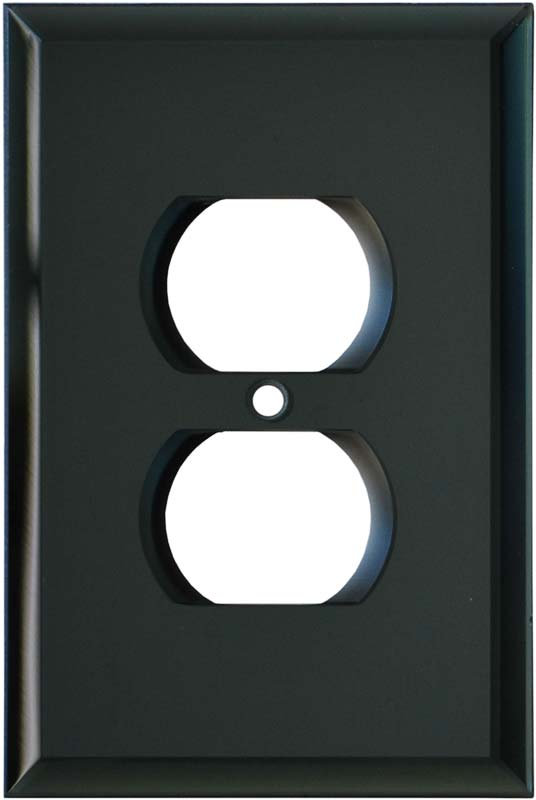 Glass Mirror Smoke Grey 1 Gang Duplex Outlet Cover Wall Plate