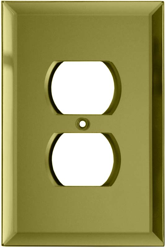 Glass Mirror Yellow 1 Gang Duplex Outlet Cover Wall Plate