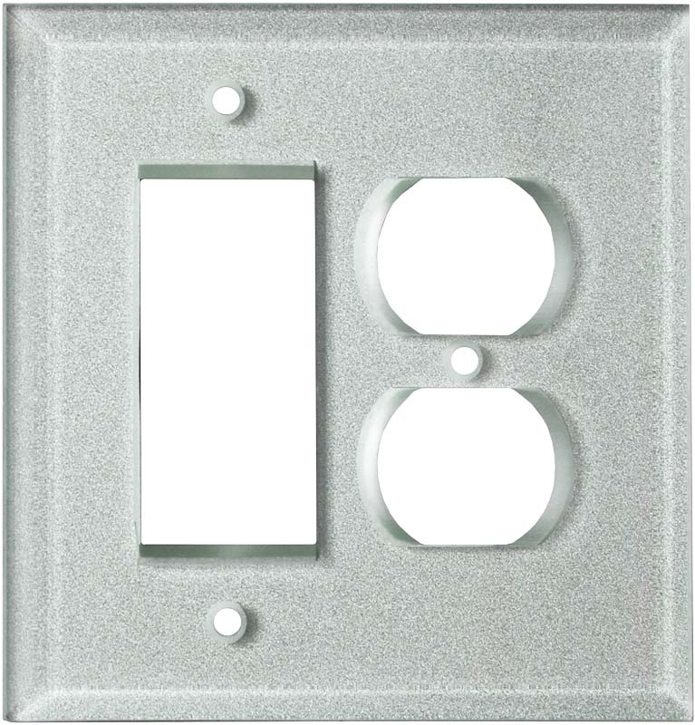 Glass Silver 2 Toggle Switch Plates