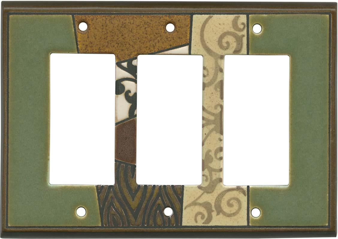 Global Ceramic Triple 3 Rocker GFCI Decora Light Switch Covers