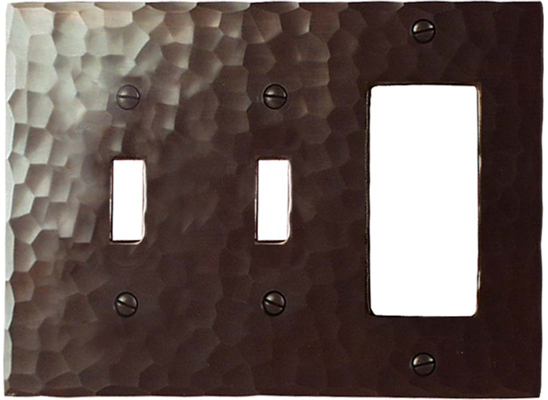Hammered Double 2 Toggle / 1 GFCI Rocker Combo Switchplates