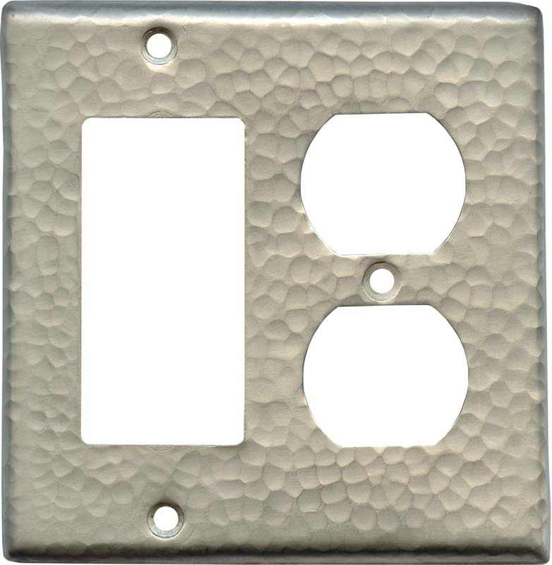 Hammered Antique Pewter Combination GFCI Rocker / Duplex Outlet Wall Plates