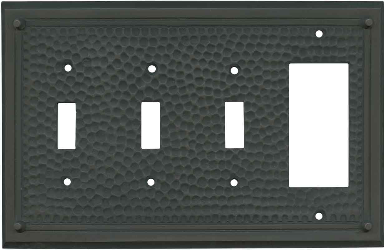 Hammered with Nails Oil Rubbed Bronze - 3 Toggle/1 Rocker GFCI Switch Covers