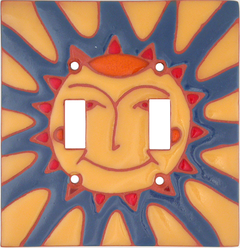 Happy Sun - 2 Toggle Switch Plate Covers