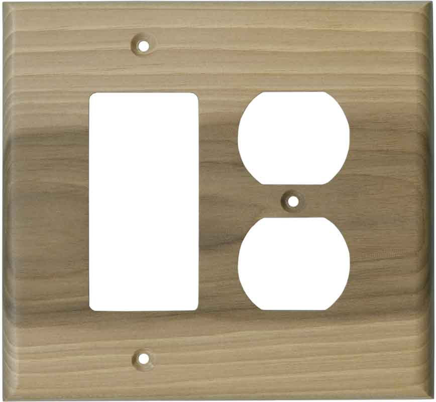 Hickory Unfinished 1-Gang GFCI Decorator Rocker Switch Plate Cover