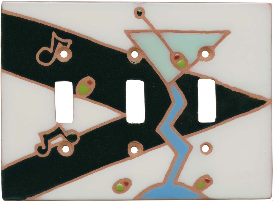 Jazzy Martini Triple 3 Toggle Light Switch Covers