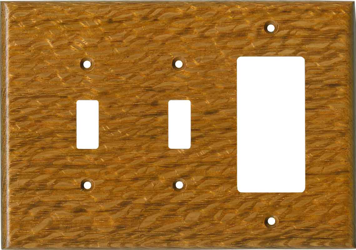 Lacewood Satin Lacquer - 2 Toggle/1 GFCI Rocker Switchplates