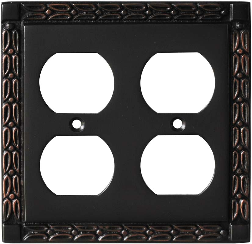 Leaf Oil Rubbed Bronze - 2 Gang Electrical Outlet Covers
