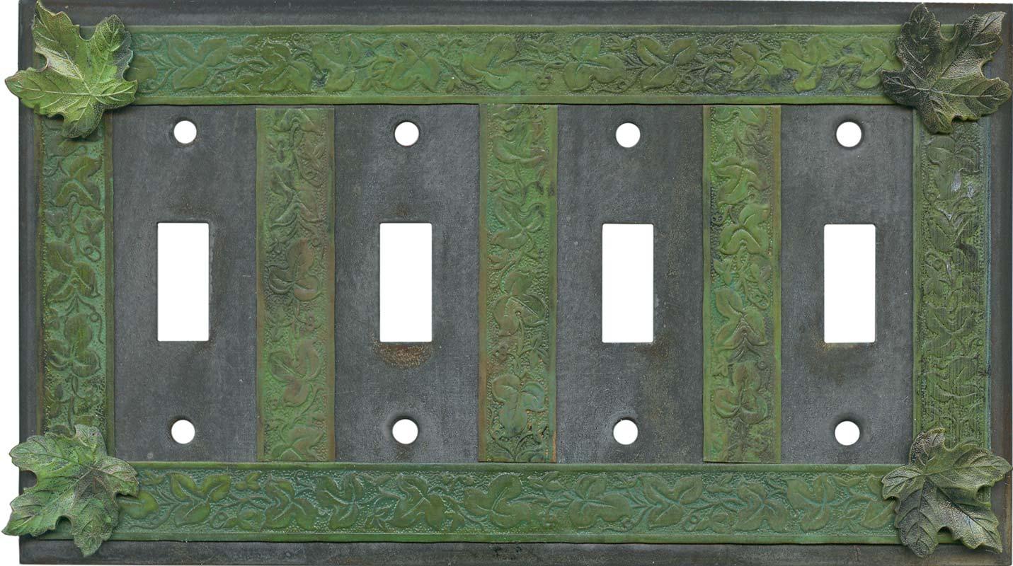 Maple Leaf Quad 4 Toggle Light Switch Covers