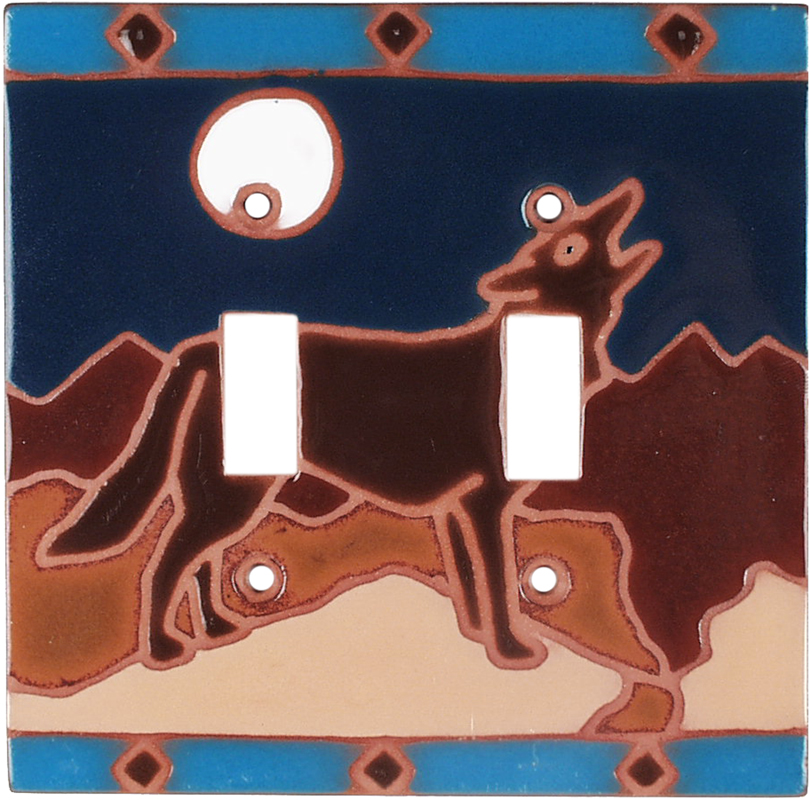 Moonlight Coyote Double 2 Toggle Switch Plate Covers