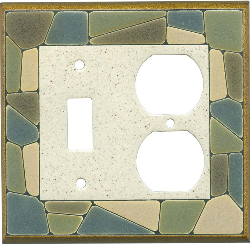 Mosaic Border Ceramic Combination 1 Toggle / Outlet Cover Plates