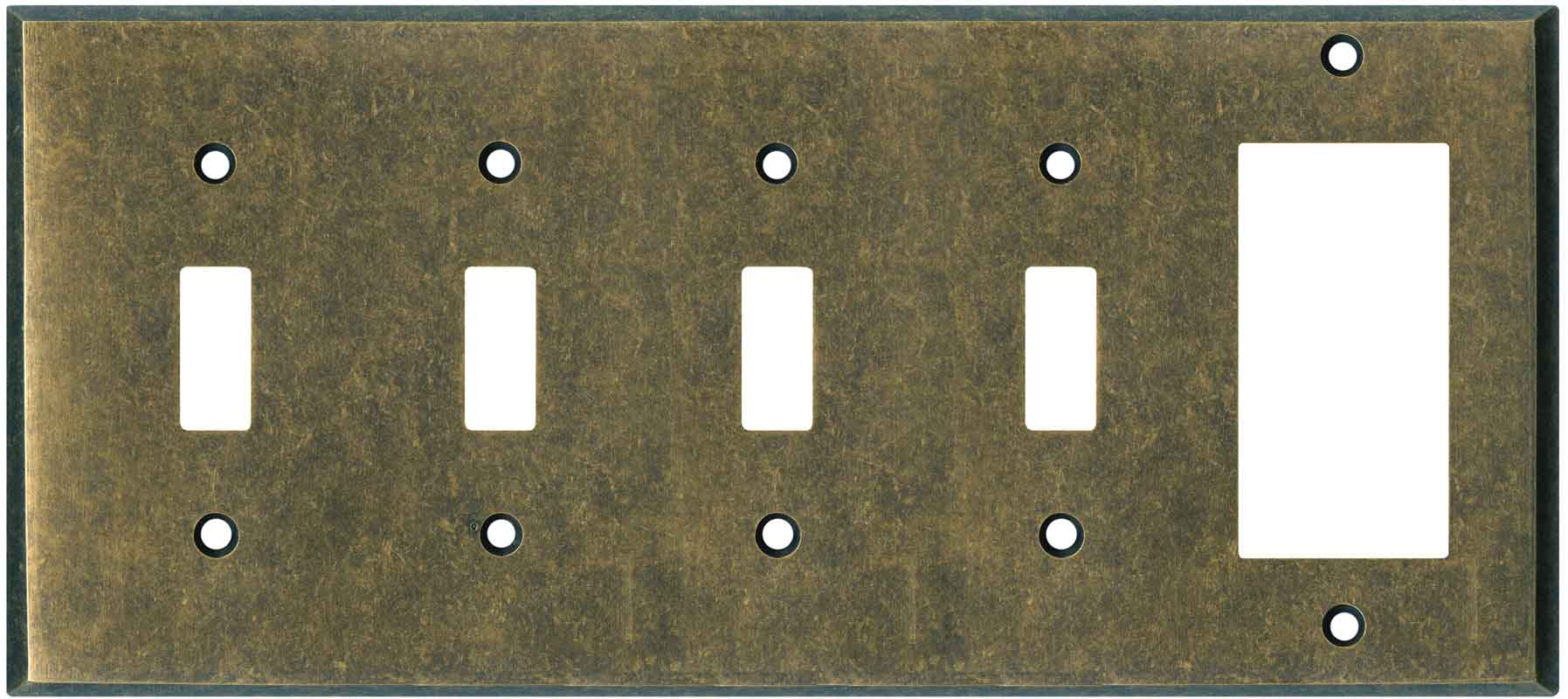 Dark Mottled Antique Brass 3 Toggle Light Switch Covers Wall Plates