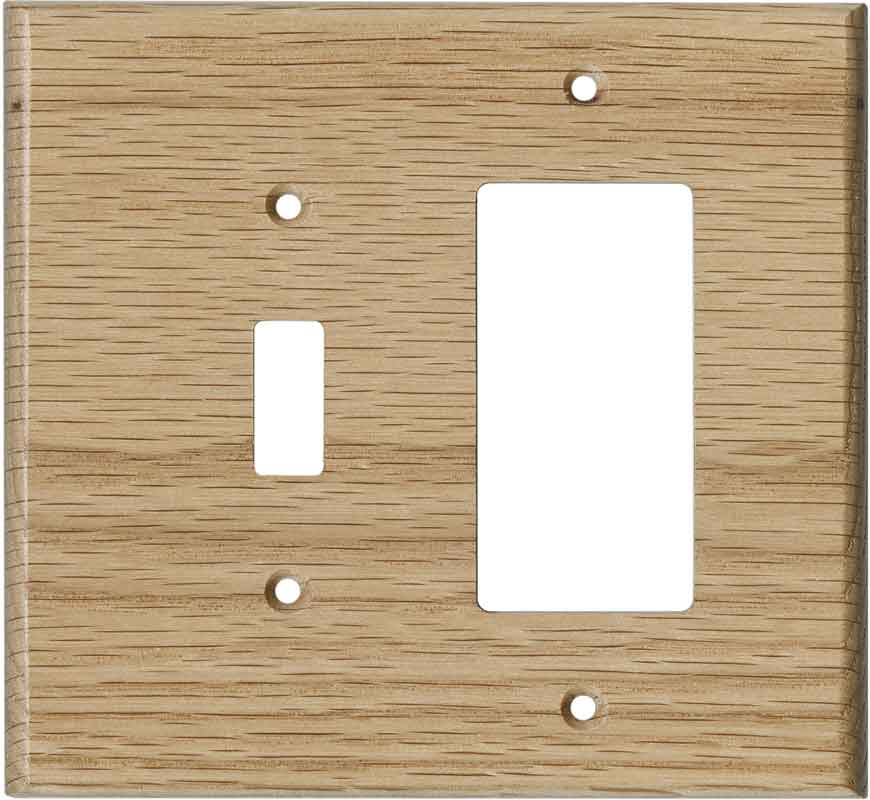Oak Red Unfinished Combination 1 Toggle / Rocker GFCI Switch Covers
