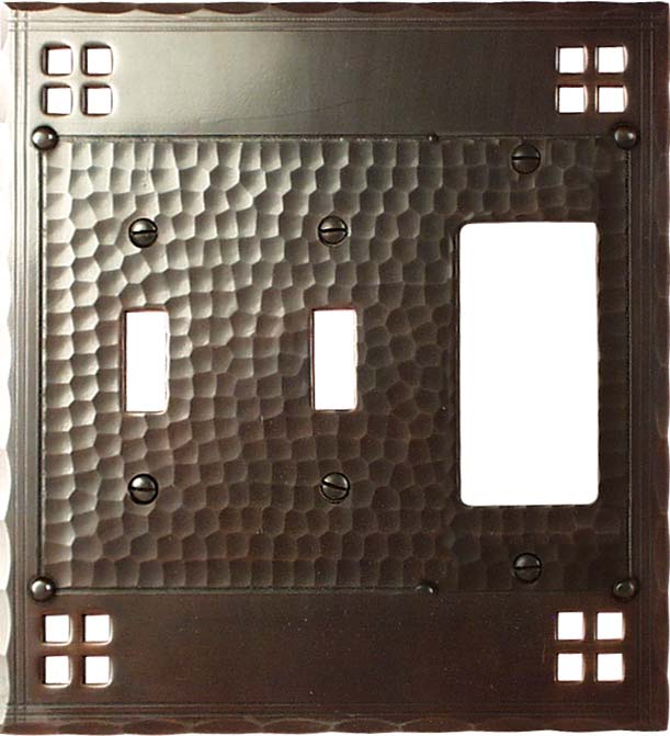Pacific Style Double 2 Toggle / 1 GFCI Rocker Combo Switchplates