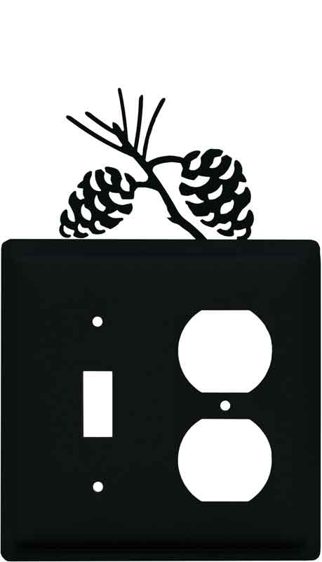Pine Cone Black Combination 1 Toggle / Outlet Cover Plates