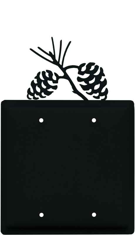 Pine Cone Black Double Blank Wallplate Covers