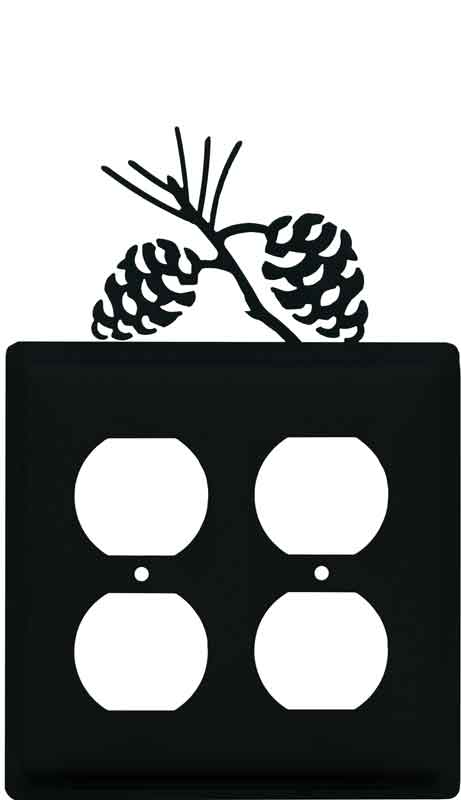 Pine Cone Black 2 Gang Duplex Outlet Wall Plate Cover