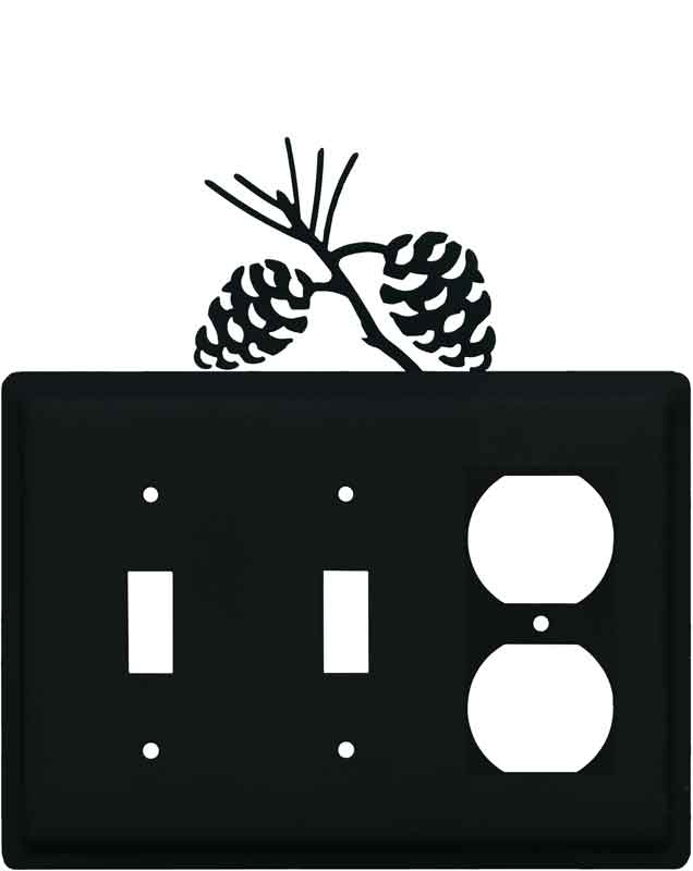 Pine Cone Black Double 2 Toggle / Outlet Combination Wall Plates