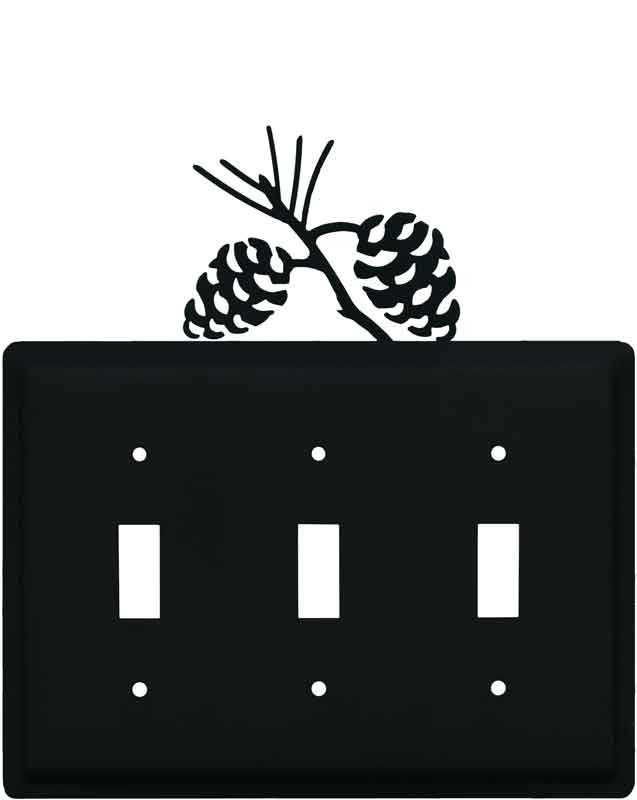Pine Cone Black Triple 3 Toggle Light Switch Covers