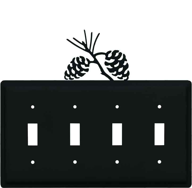 Pine Cone Black Quad 4 Toggle Light Switch Covers