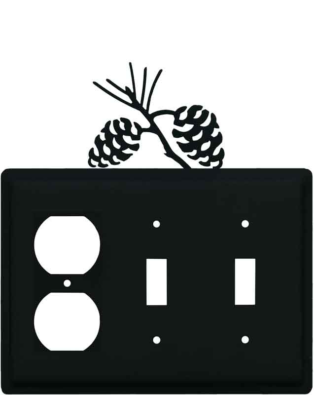 Pine Cone Black1 - Gang Duplex Outlet Cover Wall Plate