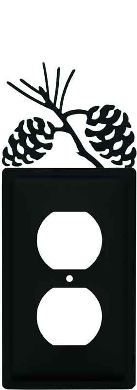 Pine Cone Black 1 Gang Duplex Outlet Cover Wall Plate