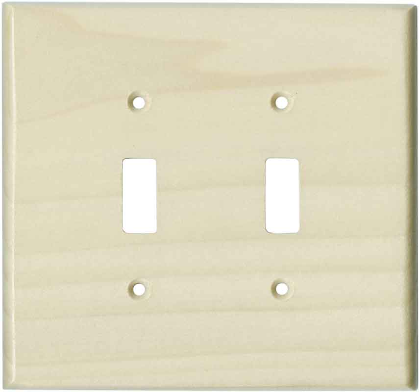 Poplar Unfinished Double 2 Toggle Switch Plate Covers