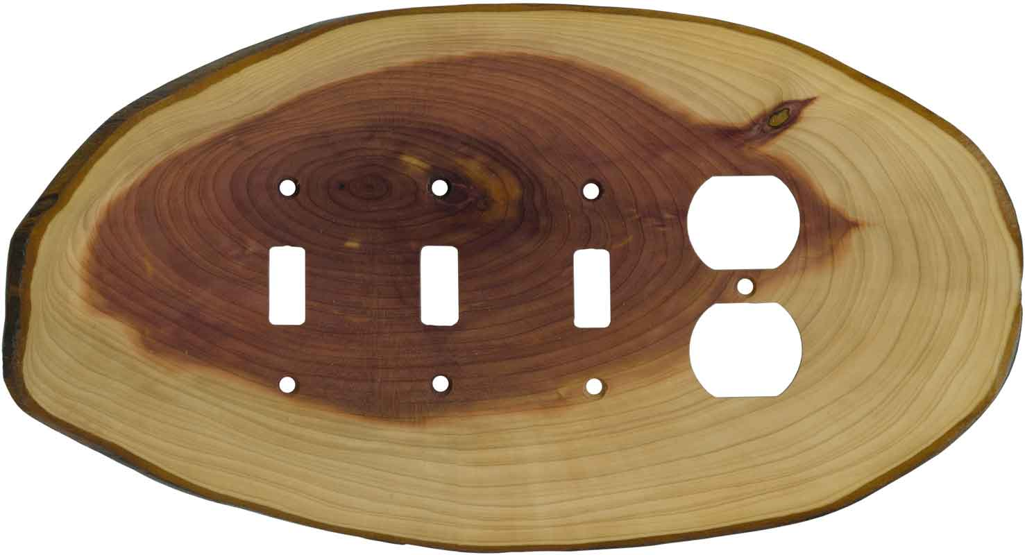 Red Cedar Slice Combination Triple 3 Toggle / Outlet Wall Plate Covers