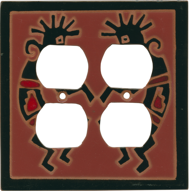 Red Kokopelli 2 Gang Duplex Outlet Wall Plate Cover