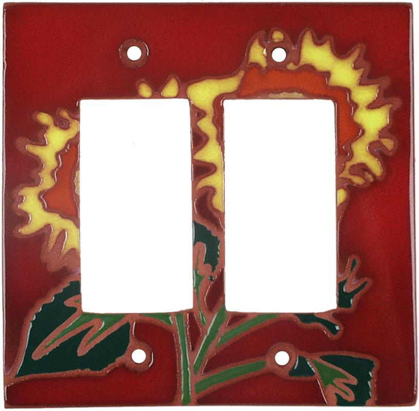 Red Sunflower - 2 Gang Double GFCI Rocker Wallplates