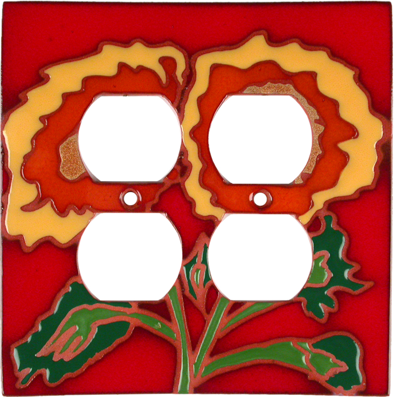 Red Sunflower - 2 Gang Electrical Outlet Covers