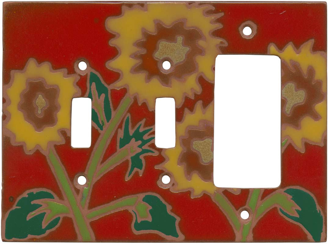 Red Sunflower Double 2 Toggle / 1 GFCI Rocker Combo Switchplates