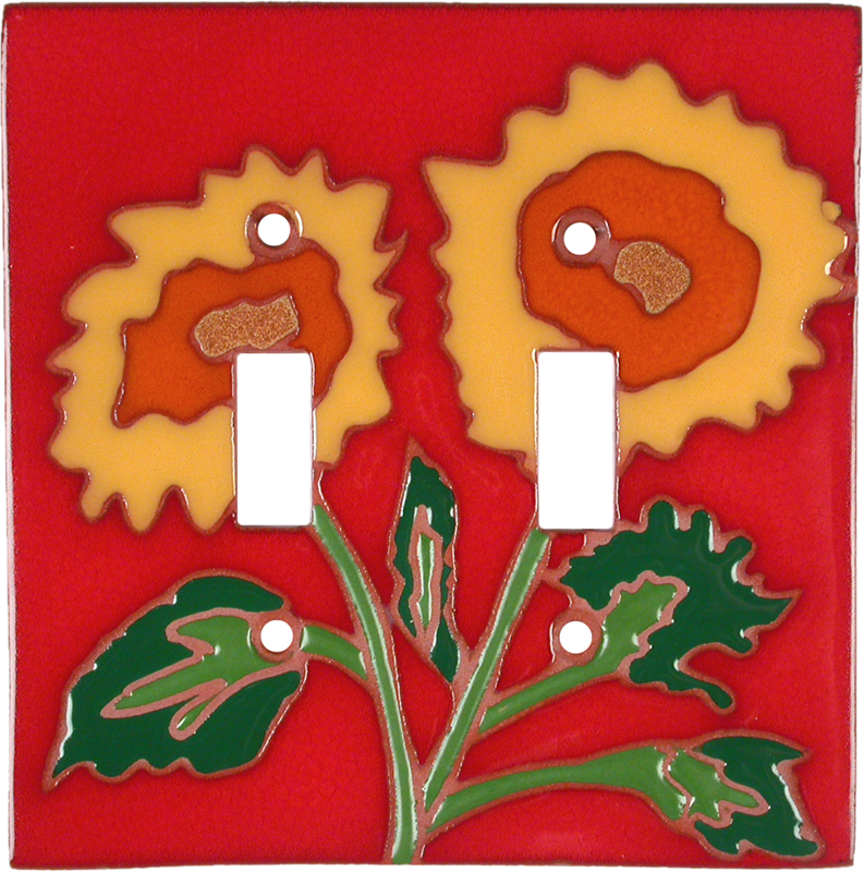 Red Sunflower Double 2 Toggle Switch Plate Covers