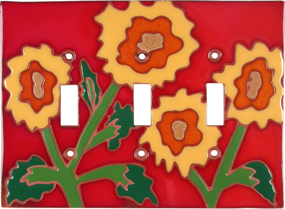 Red Sunflower - 3 Toggle Light Switch Covers