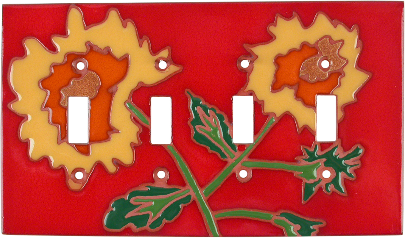 Red Sunflower Quad 4 Toggle Light Switch Covers