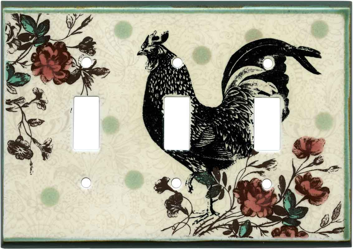 Rooster Print Ceramic3 - Toggle Switch Plates