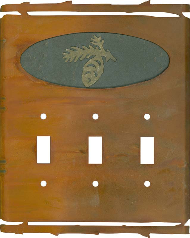 Rustic Pine Cone Triple 3 Toggle Light Switch Covers