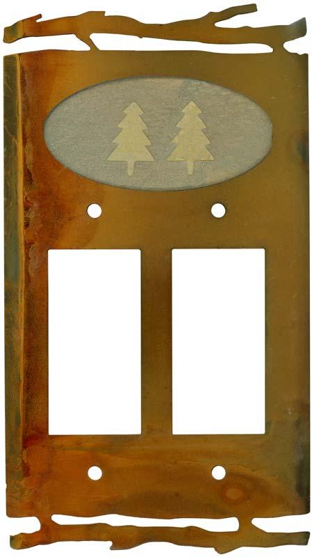 Rustic Pine Tree2 Gang Decorator / GFCI Rocker Wall Plate Cover