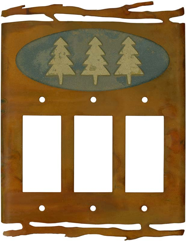 Rustic Pine Tree Triple 3 Rocker GFCI Decora Light Switch Covers