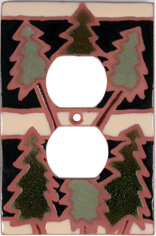 Rustic Trees Black 1 Gang Duplex Outlet Cover Wall Plate