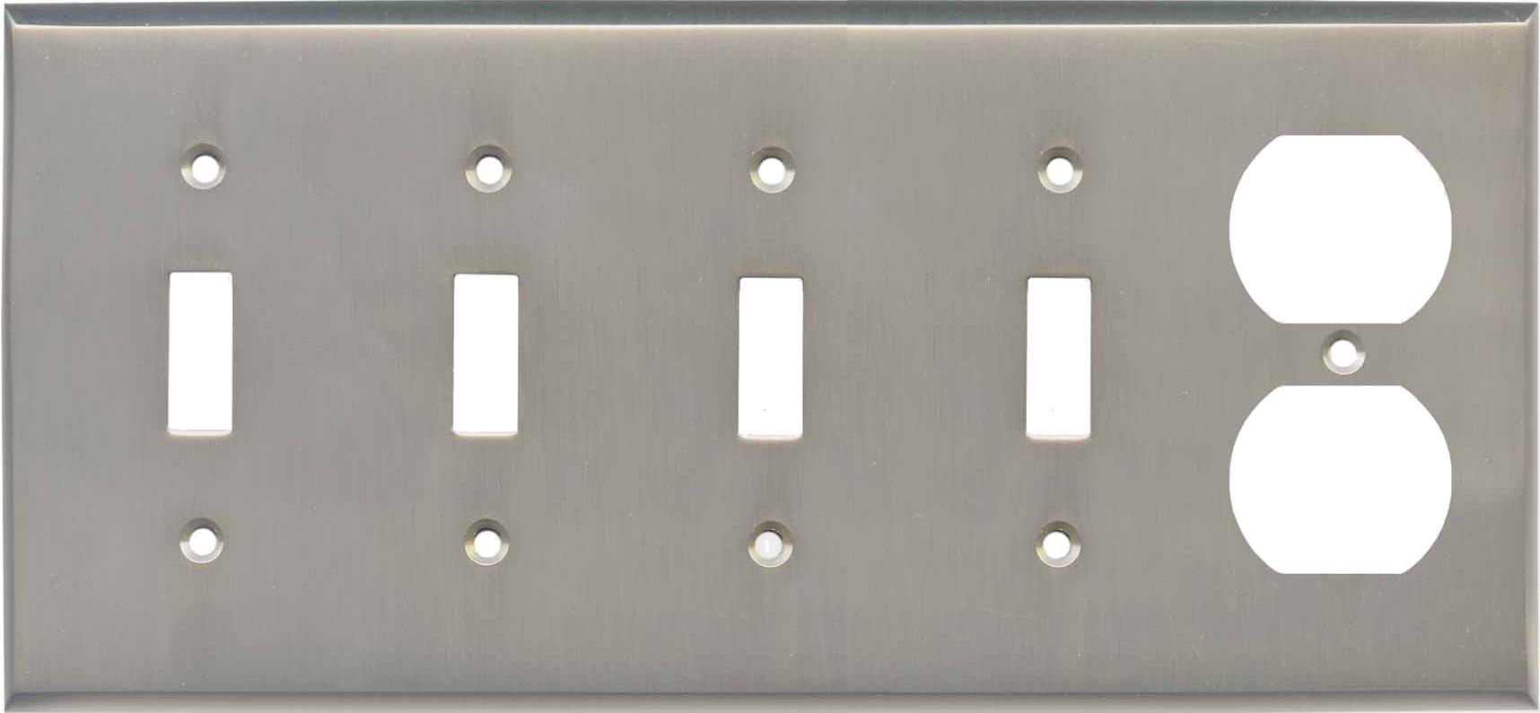Satin Nickel - 4 Toggle/Duplex Outlet Combo Plates