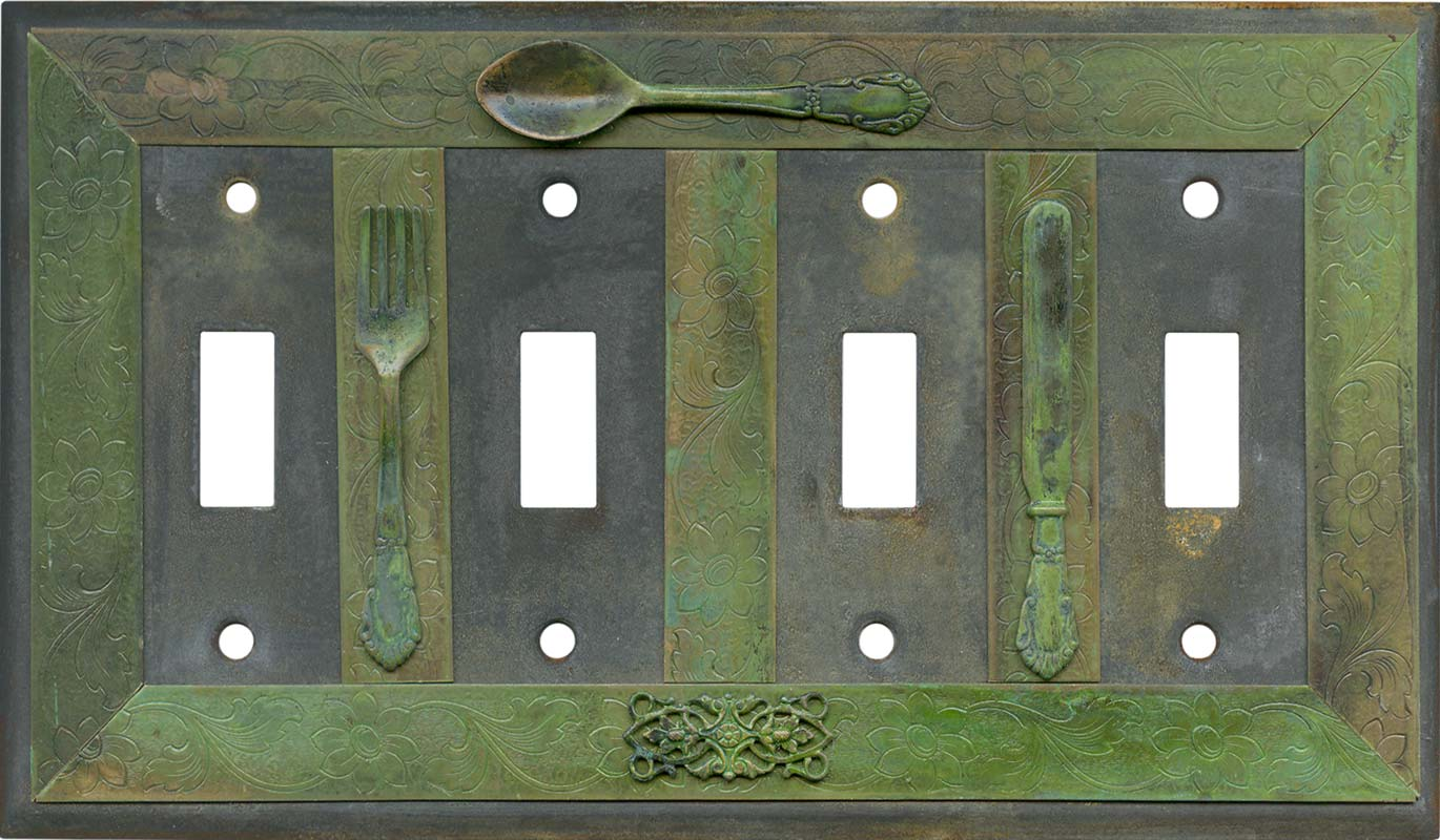 Silverware Quad 4 Toggle Light Switch Covers