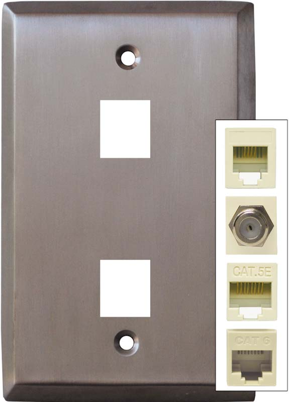 Stainless Steel Finish - Double Port Modular Wall Plates
