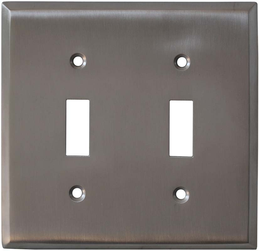 Stainless Steel Finish - 2 Toggle Switch Plate Covers