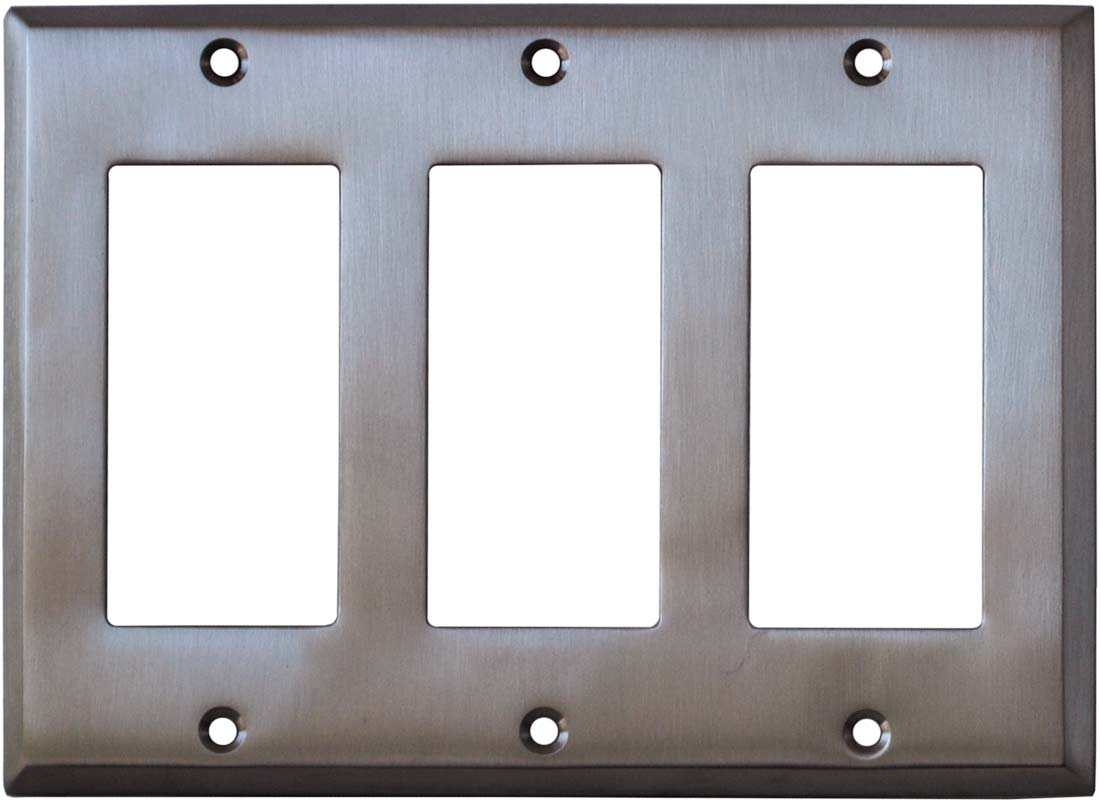 Stainless Steel Finish - 3 Rocker GFCI Decora Switch Covers