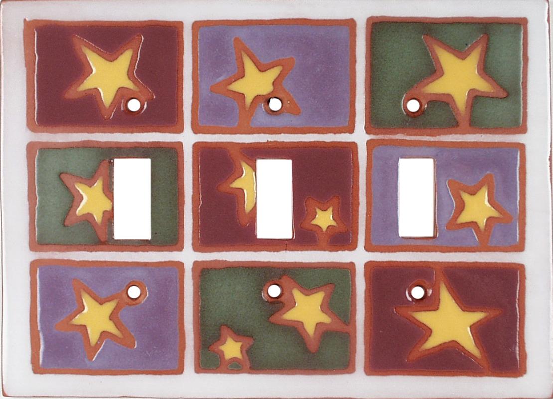 Stars Tac Toe Triple 3 Toggle Light Switch Covers