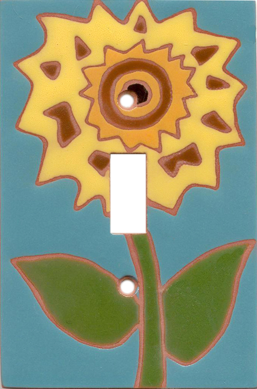 Teal Sunflower Single 1 Toggle Light Switch Plates