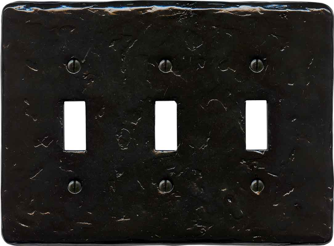 Textured Black Triple 3 Toggle Light Switch Covers