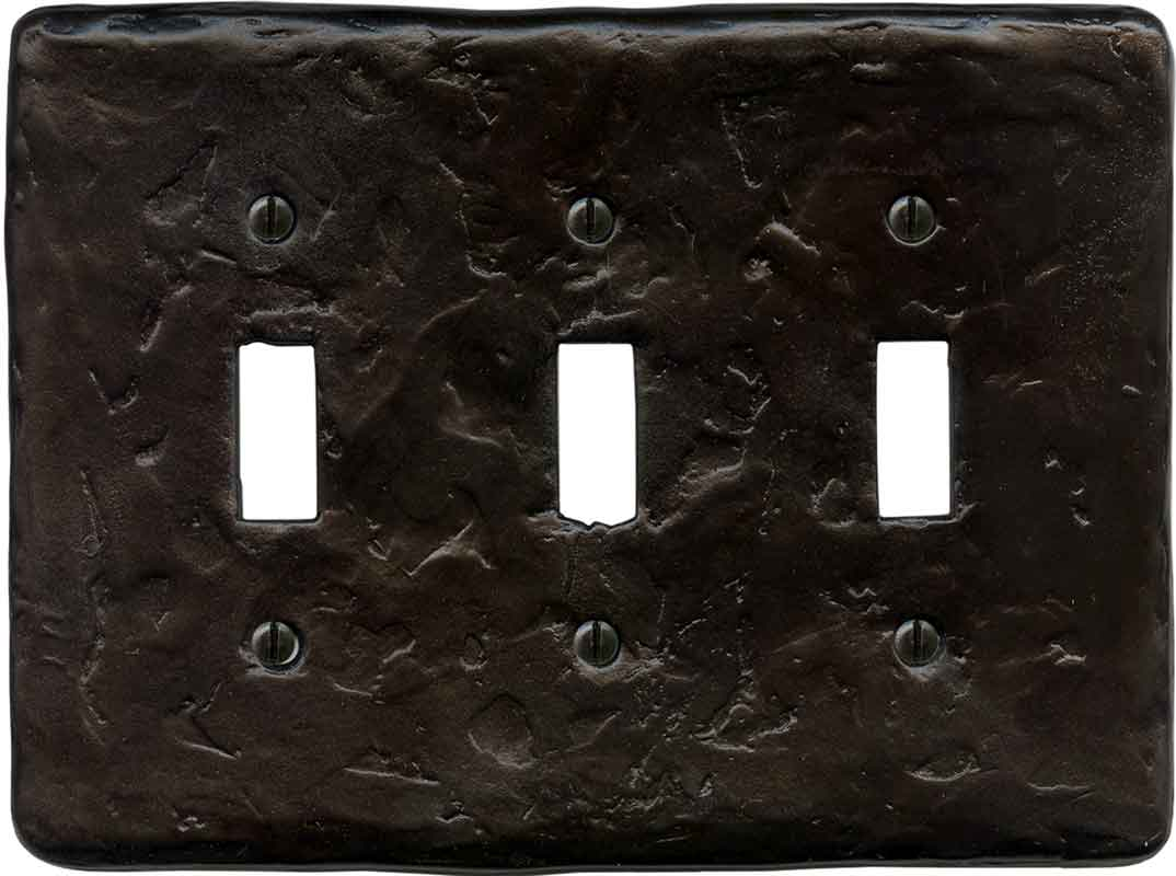 Textured Wrought Triple 3 Toggle Light Switch Covers